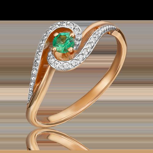 Кольцо из красного золота с изумрудом и бриллиантом 01-1500-00-106-1110-30