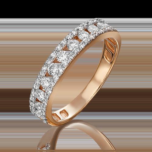 Кольцо из красного золота с бриллиантом 01-1501-00-101-1110-30