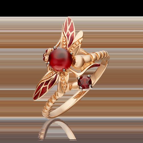 Кольцо из красного золота с гранатом и эмалью 01-5458-00-204-1110-57