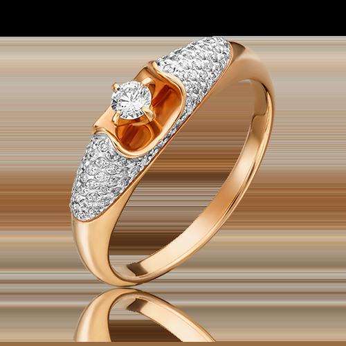Кольцо из красного золота с бриллиантом 01-1589-00-101-1110-30