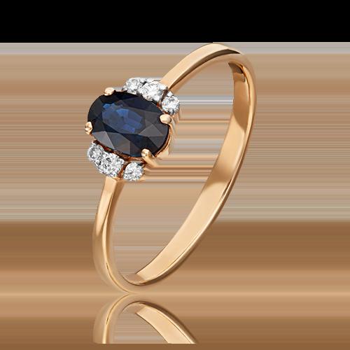 Кольцо из красного золота с сапфиром и бриллиантом 01-1285-00-105-1110-30