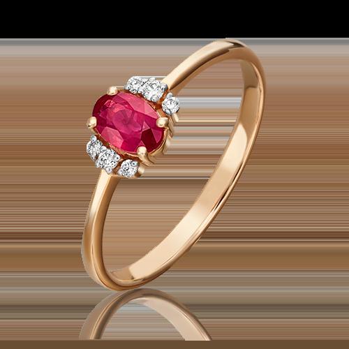 Кольцо из красного золота с рубином и бриллиантом 01-1285-00-107-1110-30