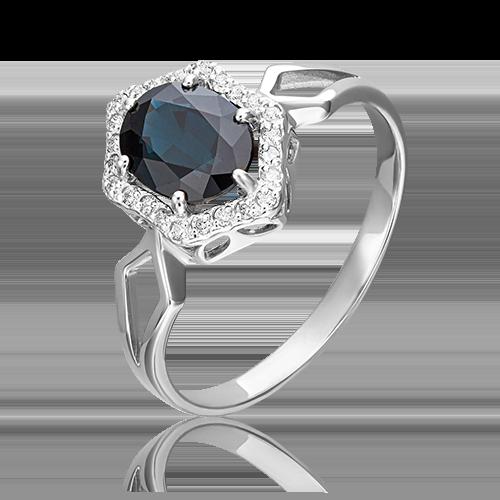 Кольцо из белого золота с сапфиром и бриллиантом 01-1290-00-105-1120-30