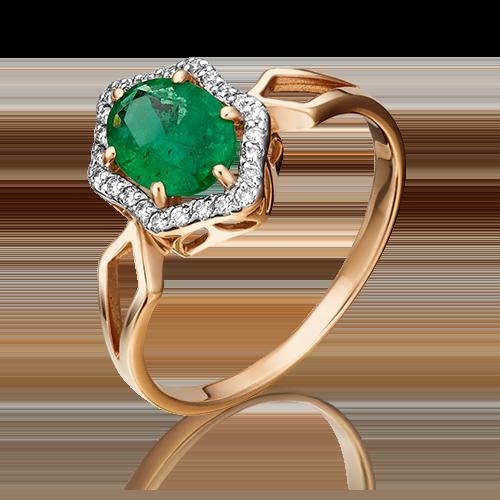 Кольцо из красного золота с изумрудом и бриллиантом 01-1289-00-106-1110-30