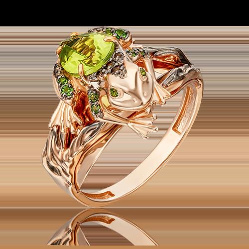 Кольцо из красного золота с хризолитом, кварцем дымчатым и хромдиопсидом 01-5414-00-727-1110-57