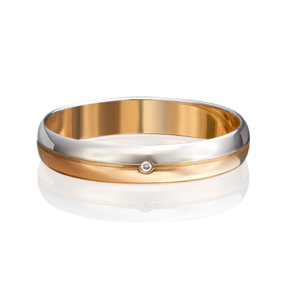 Обручальное кольцо из комбинированного золота с бриллиантом 01-1230-00-101-1111-30
