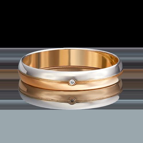 Обручальное кольцо из комбинированного золота бриллиантом 01-1230-00-101-1111-30