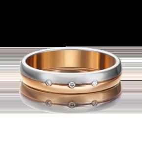Обручальное кольцо из комбинированного золота с бриллиантом 01-1231-00-101-1111-30
