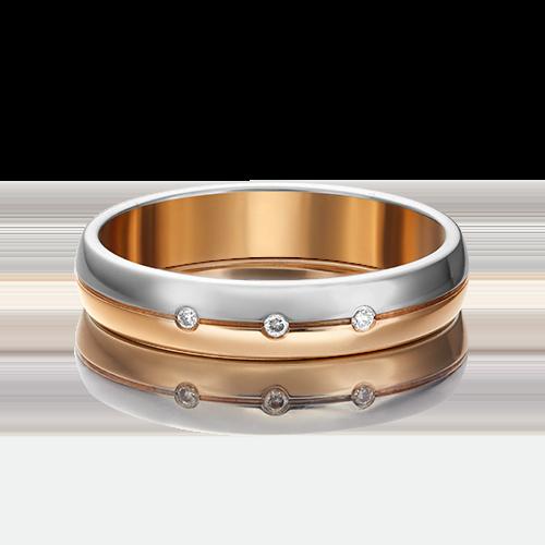 Обручальное кольцо из комбинированного золота бриллиантом 01-1231-00-101-1111-30
