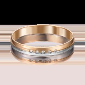 Обручальное кольцо из комбинированного золота с бриллиантом 01-1232-00-101-1111-30