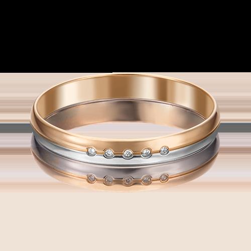 Обручальное кольцо из комбинированного золота бриллиантом 01-1232-00-101-1111-30