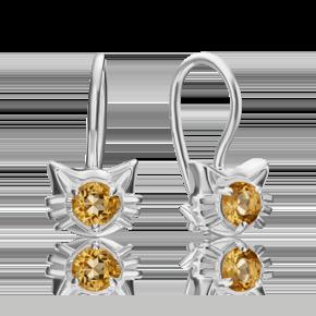 Серьги с французким замком из серебра с цитрином 02-4612-00-206-0200-68