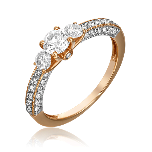 Кольцо из красного золота с бриллиантом 01-1361-00-101-1110-30