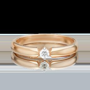 Обручальное кольцо из красного золота с бриллиантом 01-0857-00-101-1110-30