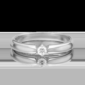 Обручальное кольцо из белого золота с бриллиантом 01-0858-00-101-1120-30