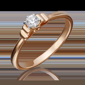 Помолвочное кольцо из красного золота с бриллиантом 01-5224-00-101-1110-30