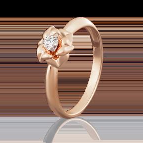 Помолвочное кольцо из красного золота с бриллиантом 01-5018-00-101-1110-30