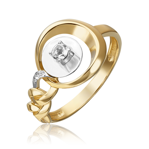 Кольцо из лимонного золота с топазом white 01-5509-00-201-1121