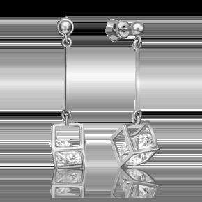 Серьги-пусеты из белого золота с фианитом огр.SW 02-4382-00-501-1120-38