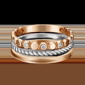 Наборное кольцо из комбинированного золота с фианитом 13-0002-00-401-1111-48