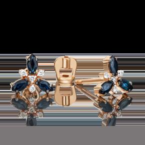 Серьги-пусеты из красного золота с сапфиром и бриллиантом 02-0397-00-105-1110-30