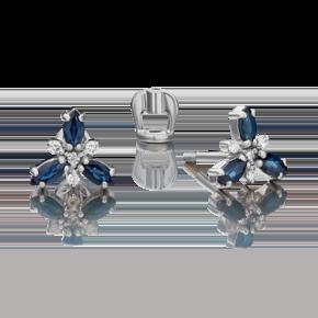 Серьги-пусеты из белого золота с сапфиром и бриллиантом 02-0398-00-105-1120-30