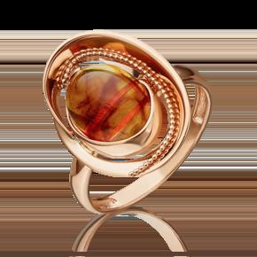 Кольцо из красного золота с янтарём 01-5446-00-271-1110-46