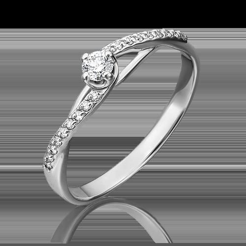 Кольцо из белого золота с бриллиантом 01-1503-00-101-1120-30