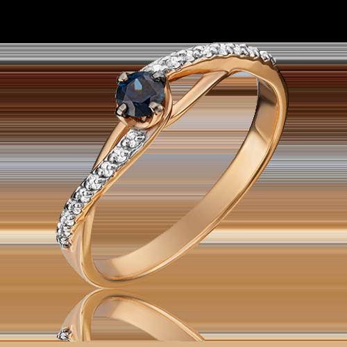 Кольцо из красного золота с сапфиром и бриллиантом 01-1503-00-105-1110-30