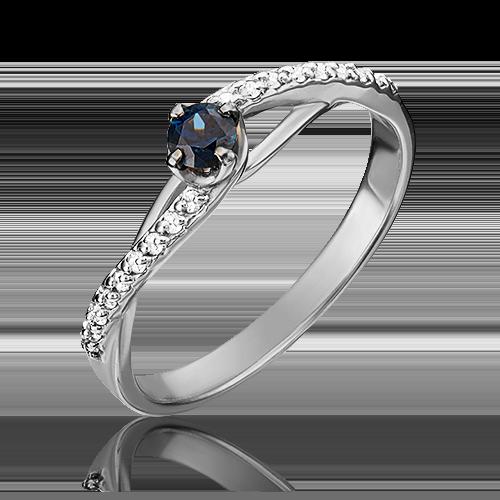 Кольцо из белого золота с сапфиром и бриллиантом 01-1503-00-105-1120-30