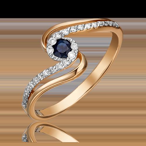 Кольцо из красного золота с сапфиром и бриллиантом 01-1505-00-105-1110-30