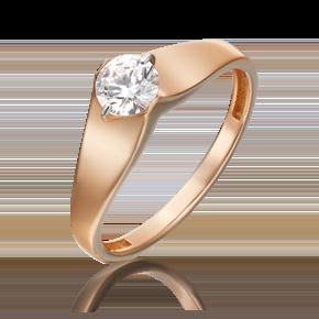 Помолвочное кольцо из красного золота с фианитом огр.SW 01-5369-00-501-1110-38