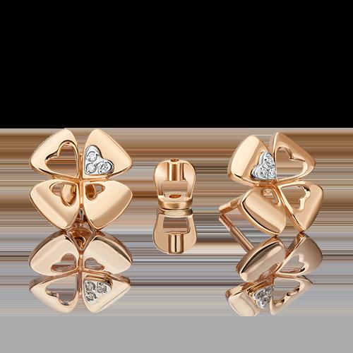 Серьги-пусеты из комбинированного золота с бриллиантом 02-4821-00-101-1111
