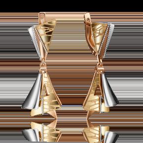 Серьги с английским замком из комбинированного золота 02-4256-00-000-1113-66