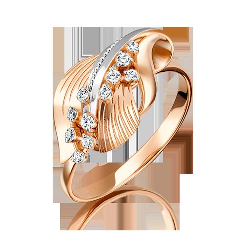 Кольцо из красного золота фианитом 01-5094-00-401-1110-48