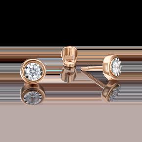 Серьги-пусеты из комбинированного золота с бриллиантом 02-4303-00-101-1111-30