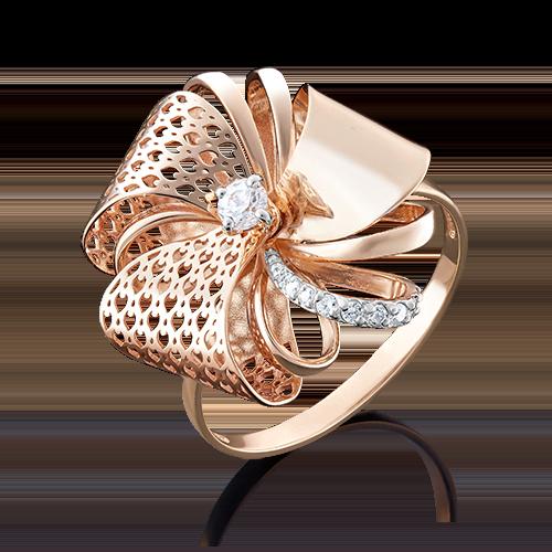 Кольцо из красного золота фианитом 01-4932-00-401-1110-48