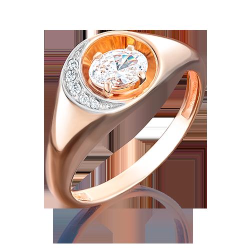 Кольцо из красного золота фианитом огр.SW 01-4933-00-501-1110-38