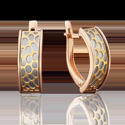 Серьги с английским замком из комбинированного золота 02-3810-00-000-1113-48