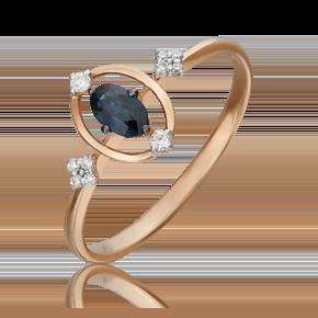 Кольцо из красного золота с сапфиром и бриллиантом 01-5520-00-105-1110-30