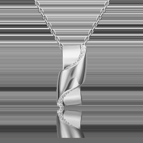 Подвеска из белого золота с фианитом 03-3150-00-401-1120-23