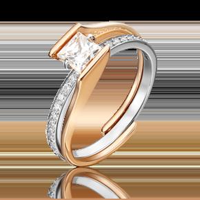 Наборное кольцо из комбинированного золота с фианитом огр.SW 13-0014-00-501-1111-38