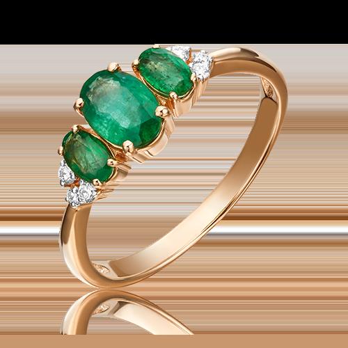 Кольцо из красного золота с изумрудом и бриллиантом 01-1295-00-106-1110-30