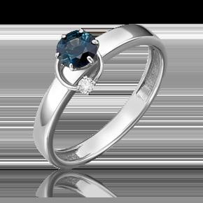 Кольцо из белого золота с сапфиром и бриллиантом 01-5211-00-105-1120-30