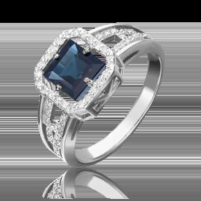 Кольцо из белого золота с сапфиром и бриллиантом 01-1322-00-105-1120-30