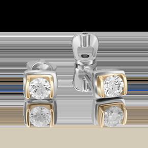 Серьги-пусеты из лимонного золота с бриллиантом 02-4204-00-101-1121-30