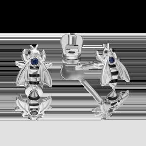 Серьги-пусеты из серебра с сапфиром и эмалью 02-4651-00-102-0200-72