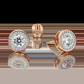 Серьги-пусеты из красного золота с фианитом огр.SW 02-4673-00-501-1110-38