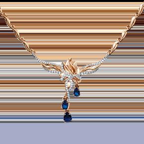 Колье из комбинированного золота с сапфиром и бриллиантом 07-0207-00-105-1111-30