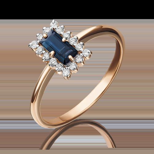 Кольцо из красного золота с сапфиром и бриллиантом 01-1514-00-105-1110-30